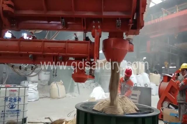 60吨混砂机!高溃散改性水玻璃砂生产线现场视频